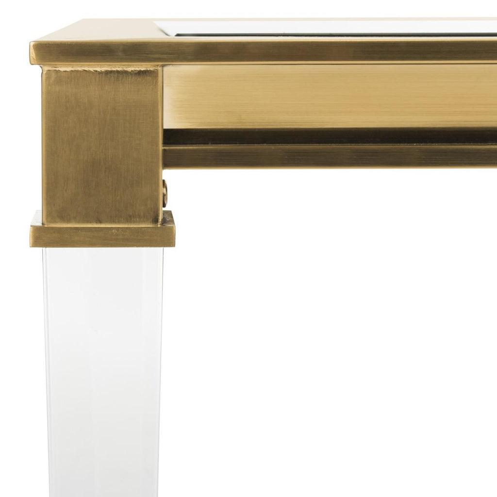 Safavieh Charleston Console Table Acrylic Stainless Steel Brass Glass Couture SFV2515A 889048201002