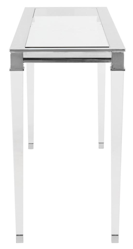 Safavieh Charleston Console Table Acrylic Brass Glass Mirror Stainless Steel Couture SFV2515B 889048288980