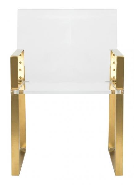 Safavieh Langston Arm Chair Acrylic Stainless Steel Brass Couture SFV2516A 889048201026