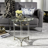 Safavieh Letty End Table Round Glass Polished Stainless Steel Acrylic Couture SFV2519A 889048285668