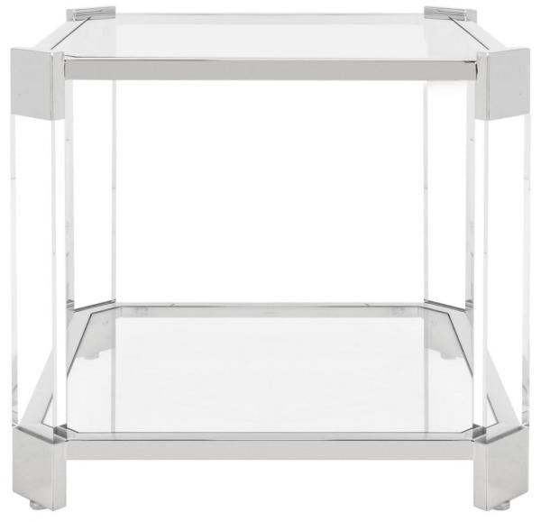Safavieh Gianna End Table Glass Stainles Steel Stainless Acrylic Couture SFV2528A 889048301405