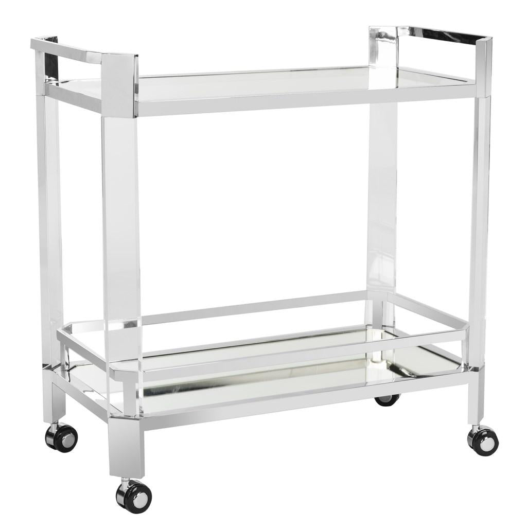 Safavieh Gianna Bar Trolley Glass Stainles Steel Stainless Acrylic Mirror Couture SFV2529A 889048301412