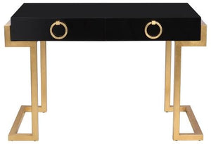 Safavieh Maia Desk 2 Drawer Lacquer Black Gold Metal Wood MDF Couture SFV3504A 889048134645