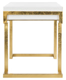 Safavieh Maia Desk 2 Drawer Lacquer White Gold Metal Wood MDF Couture SFV3504B 889048289468