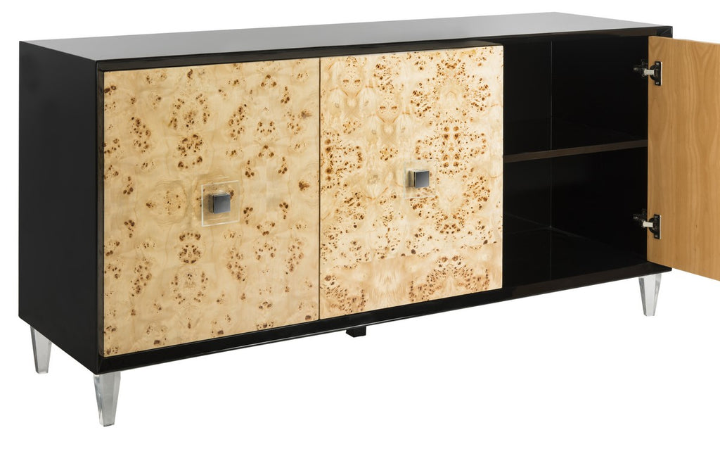 Safavieh Lazaro Sideboard Burlwood Black Nickle Metal Wood MDF Couture SFV3527B 889048289581