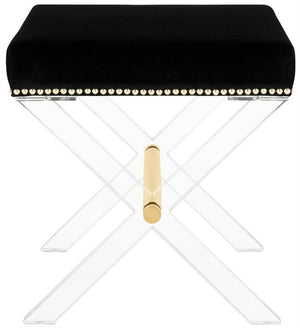 Safavieh Jezebel Bench Acrylic X Black Brass Velvet Couture SFV3532A 889048339392