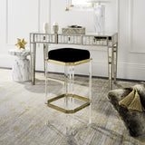 Safavieh Cicely Bar Stool Acrylic Black Brass Velvet Couture SFV3533A 889048339408
