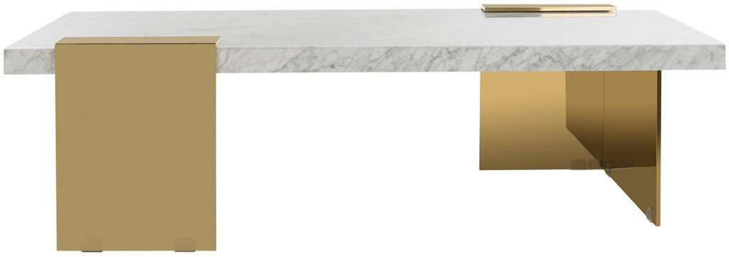 Safavieh Mycha Marble Coffee Table in White and Gold SFV3541A-2BX 889048467668