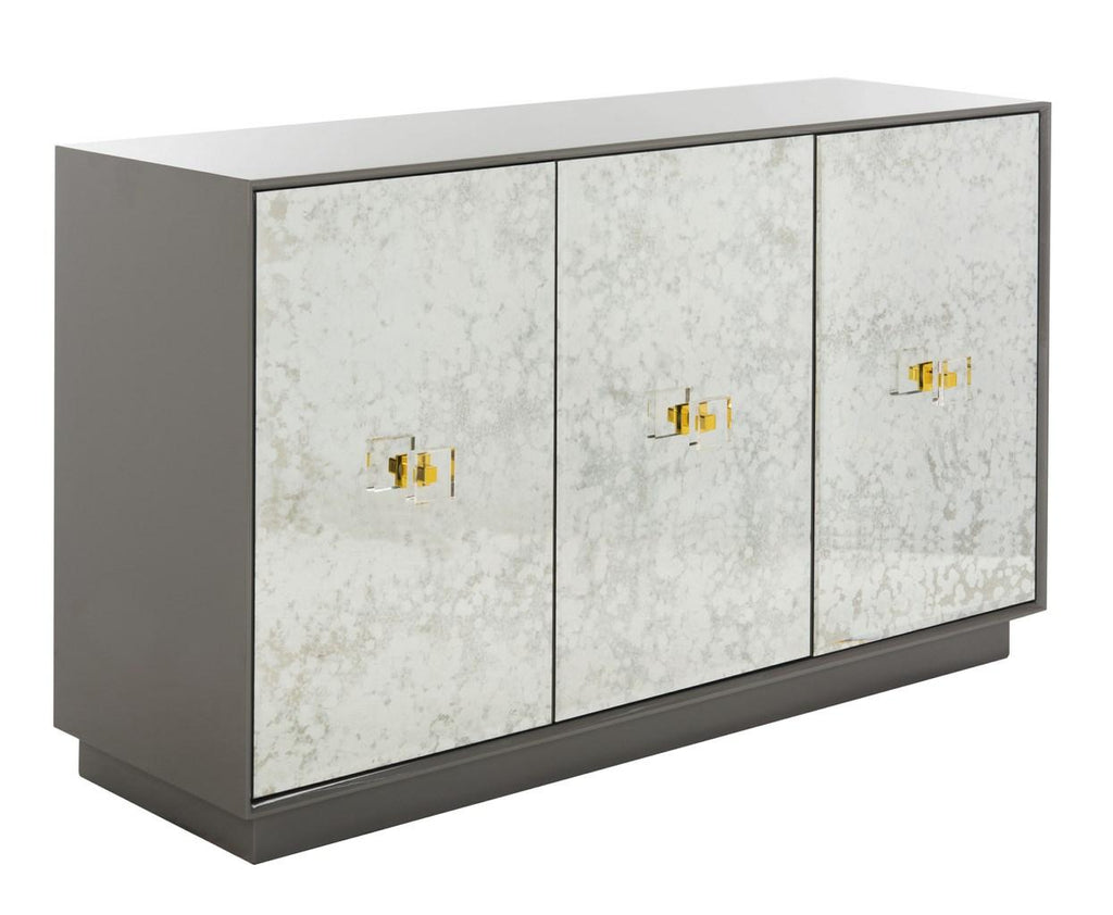 Safavieh Felice Sideboard 3 Drawer Eglomise Grey Antique Mirror Lucite Couture SFV3560A 889048496927