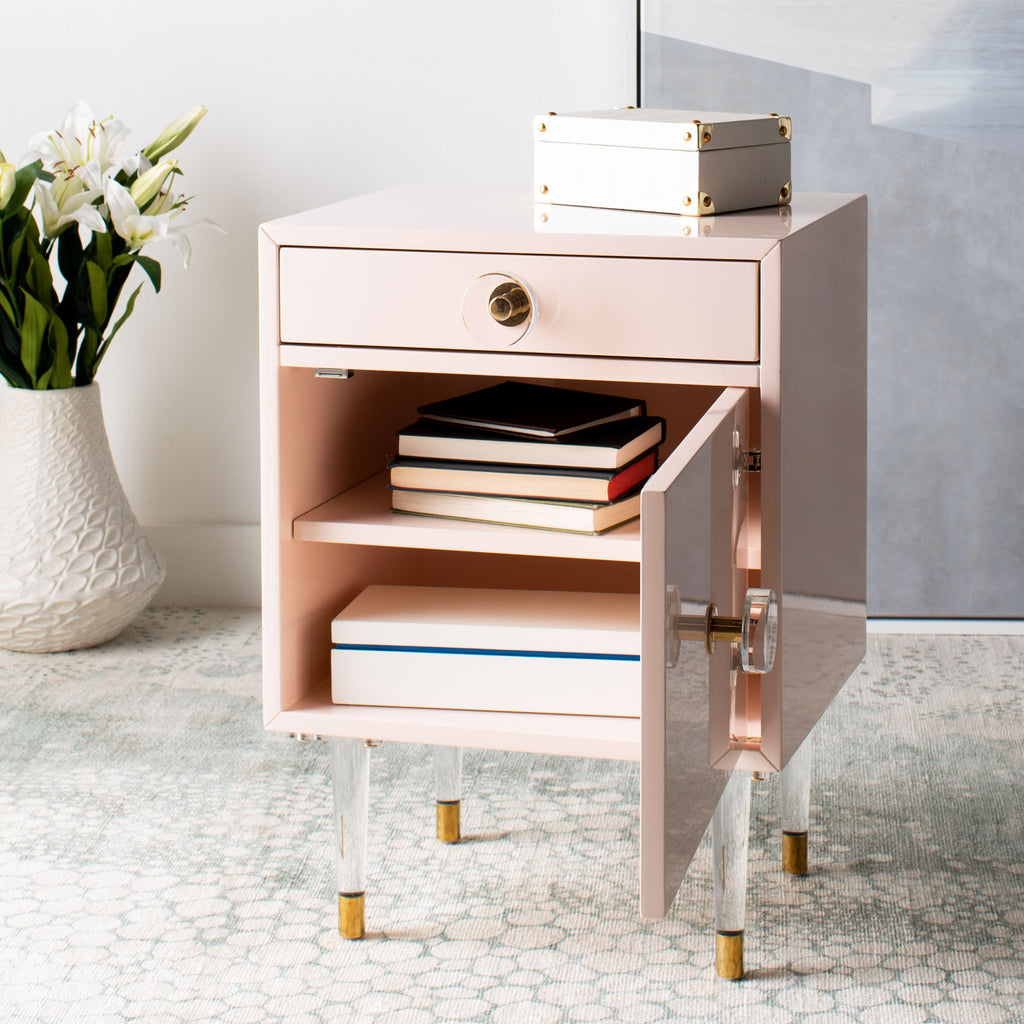 Safavieh Harry 2 Drawer Side Table in Light Pink / Gold Couture SFV3568A