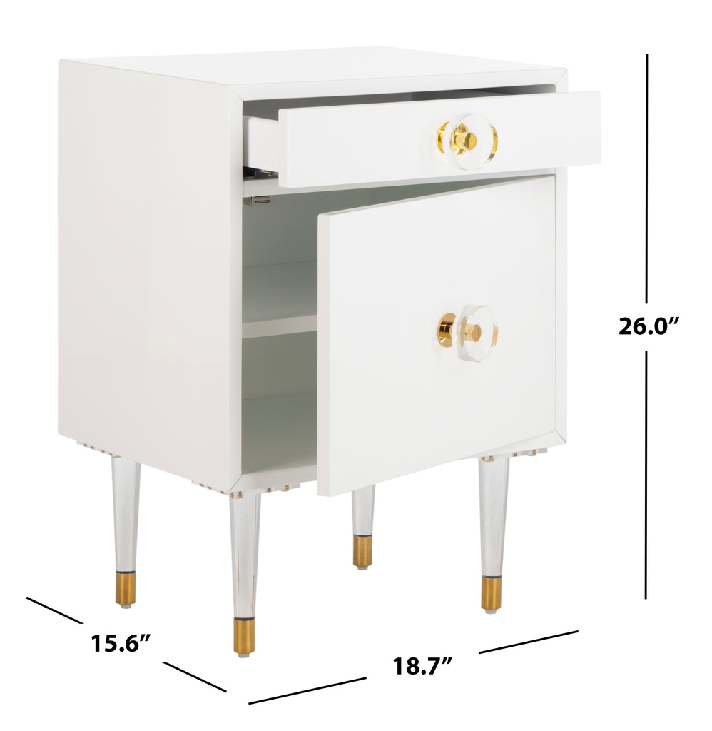 Safavieh Harry 2 Drawer Side Table White Mdf SFV3568B 889048599222