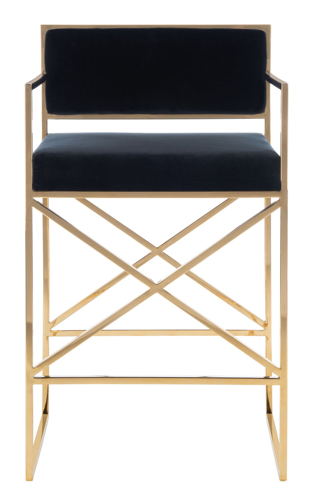Safavieh Kian Velvet Directors Counter Stool in Black / Gold Couture SFV3584A