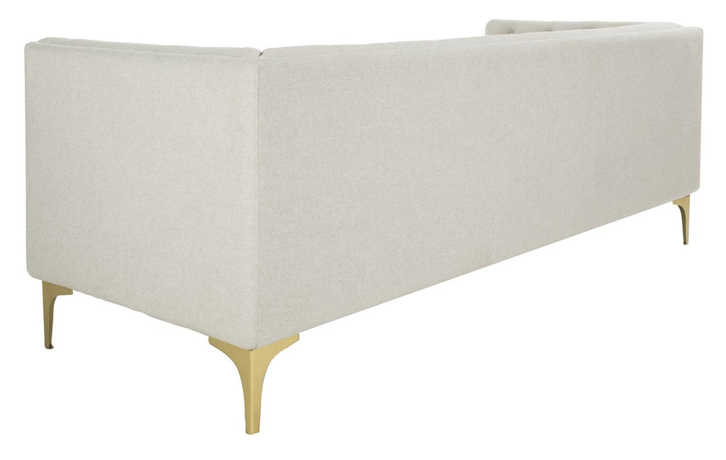 Safavieh Florentino Sofa Tufted Light Grey Gold Fabric Metal Pine Wood Polyester Couture SFV4506A 889048472556