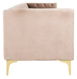 Safavieh Florentino Sofa Tufted Dusty Rose Gold Fabric Metal Pine Wood Polyester Couture SFV4506B 889048472563