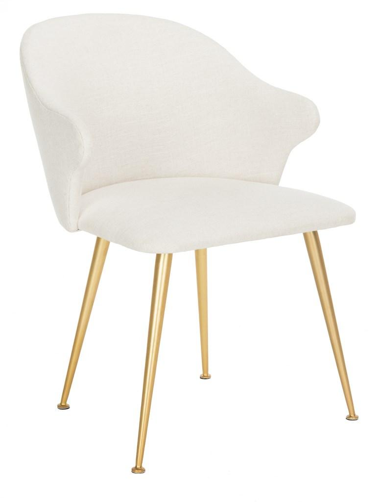 Safavieh Edmond Arm Chair Linen Blend Cream Gold Fabric Metal Pine Wood Viscose Polyester Cotton Couture SFV4507A 889048472570