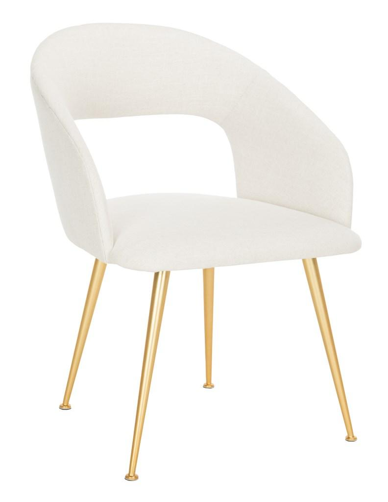 Safavieh Lorina Dining Chair Linen Blend Cream Gold Fabric Metal Pine Wood Viscose Polyester Cotton Couture SFV4509A 889048472617