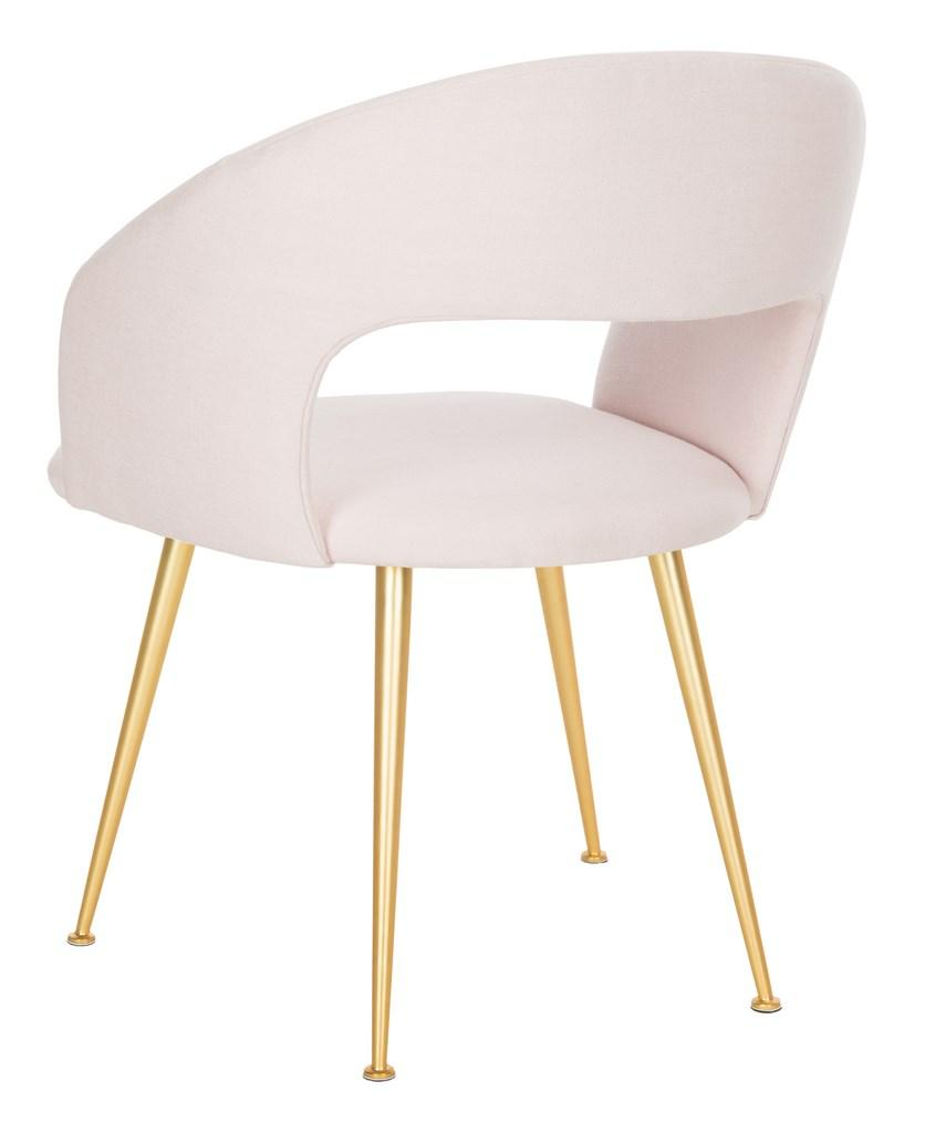 Safavieh Lorina Dining Chair Linen Blend Light Pink Gold Fabric Metal Pine Wood Viscose Polyester Cotton Couture SFV4509B 889048472624