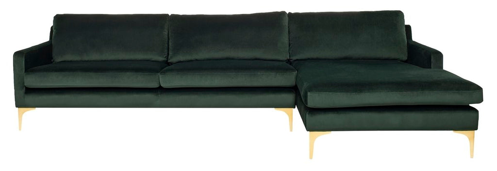 Safavieh Brayson Chaise Sectional Sofa in Hunter Green SFV4510A-2BX 889048633605