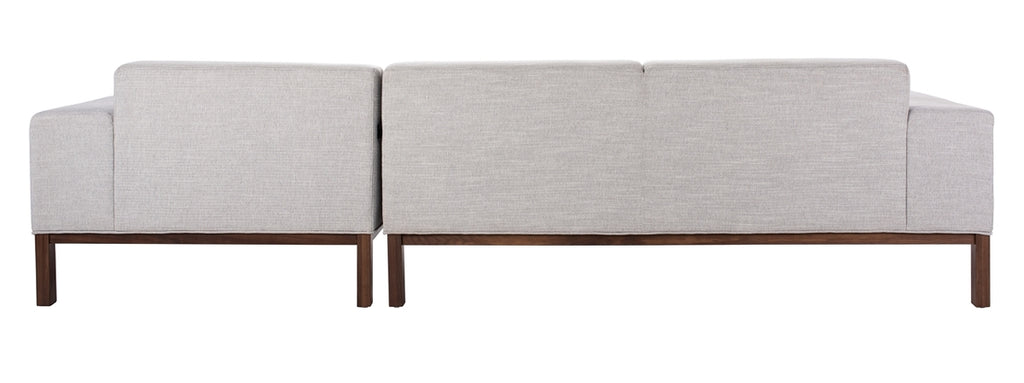 Safavieh Dove Mid-Century Sectional in Light Grey and Brown SFV4511A-2BX 889048682399