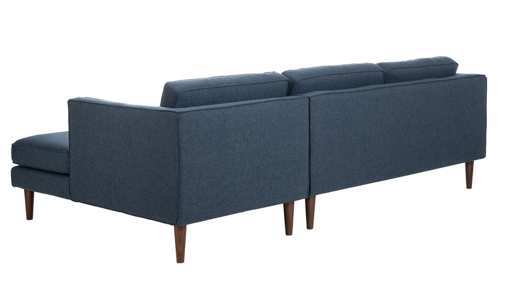 Safavieh Dulce Mid-Century Chaise Sofa in Dark Blue Couture SFV4513B