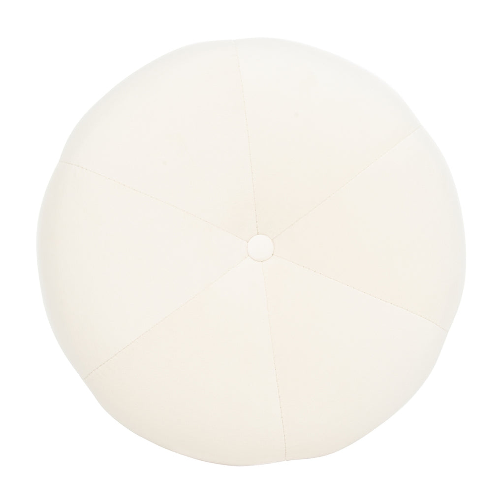 Safavieh Carnation Round Tufted Ottoman in Cream Couture SFV4719C