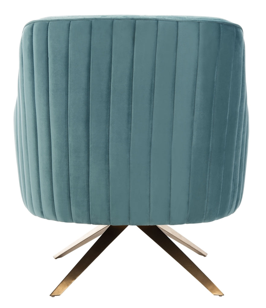 Safavieh Leyla Channeled Velvet Accent Chair in Seafoam Couture SFV4720A