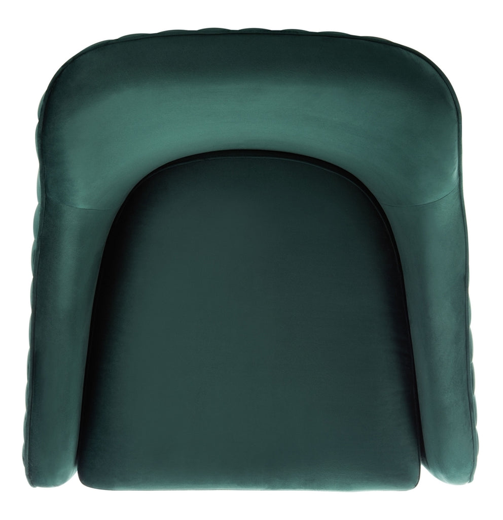 Safavieh Leyla Channeled Velvet Accent Chair in Emerald Couture SFV4720B