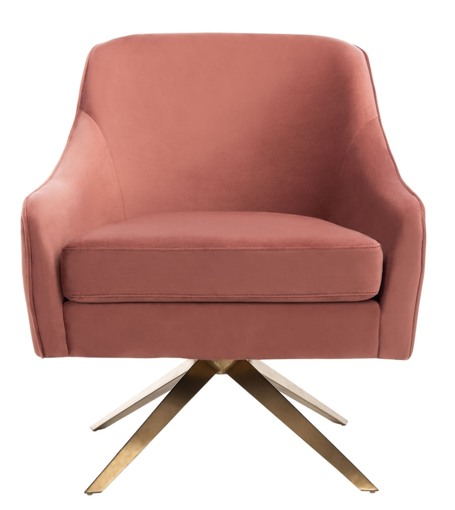 Safavieh Leyla Channeled Velvet Accent Chair in Dusty Rose Couture SFV4720C