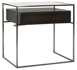 Safavieh Caelan Side Table Tempered Glass Natural Steel Black Nickel Eucalyptus Veneer Couture SFV6020A 889048280939