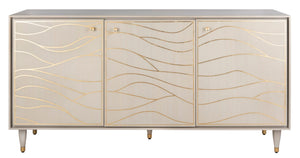 Safavieh Broderick Wave Sideboard White / Gold Solid Wood / Mdf / Poplar Plywood / Ash Veneer Brass Handle SFV8102A 889048635760
