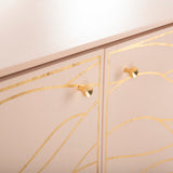 Safavieh Broderick Wave Sideboard Pink / Gold Solid Wood / Mdf / Poplar Plywood / Ash Veneer Brass Handle SFV8102B 889048635777