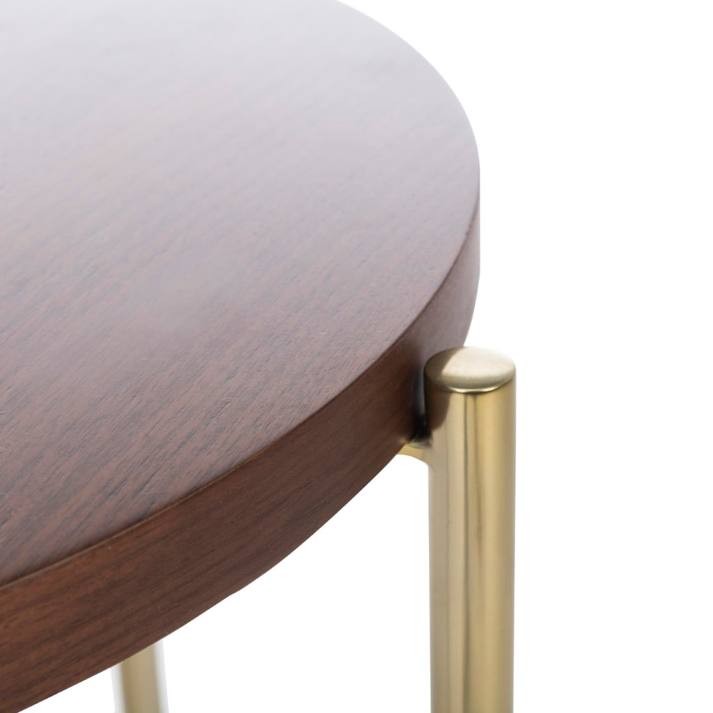 Safavieh Cassie End Table Natural / Gold Mdf / Walnut Veneer Stainless Steel Finish / Polished Brass Base SFV8106A 889048635920