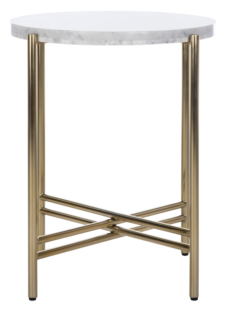 Safavieh Cassie End Table White / Gold Plywood Stainless Steel Finish / Polished Brass Base SFV8106B 889048635944