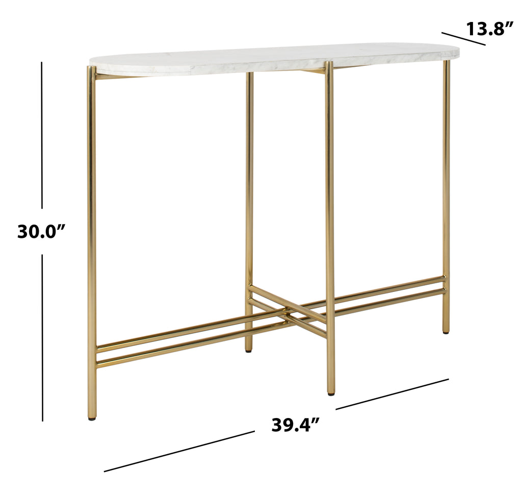 Safavieh Cassie Small Console Table White / Gold Plywood Stainless Steel Finish / Polished Brass Base SFV8108A 889048636033