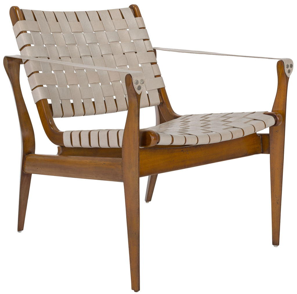 Safavieh Dilan Safari Chair Leather Cherry White Light Brown Wood Mahogany Couture SFV9005A 889048003699