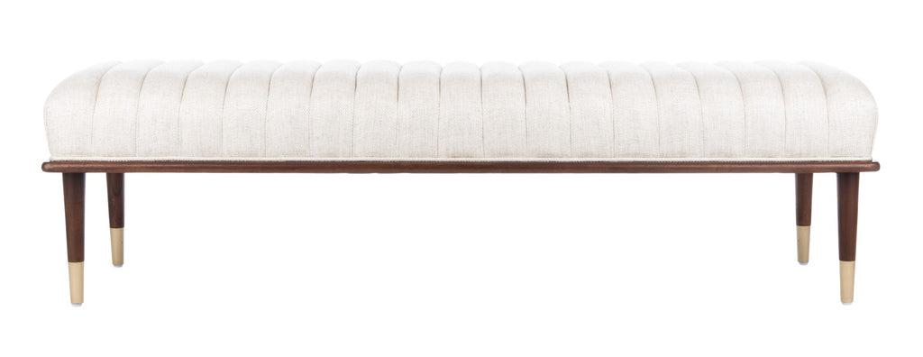 Safavieh Flannery Mid-Century Bench in Cream Couture SFV9017A