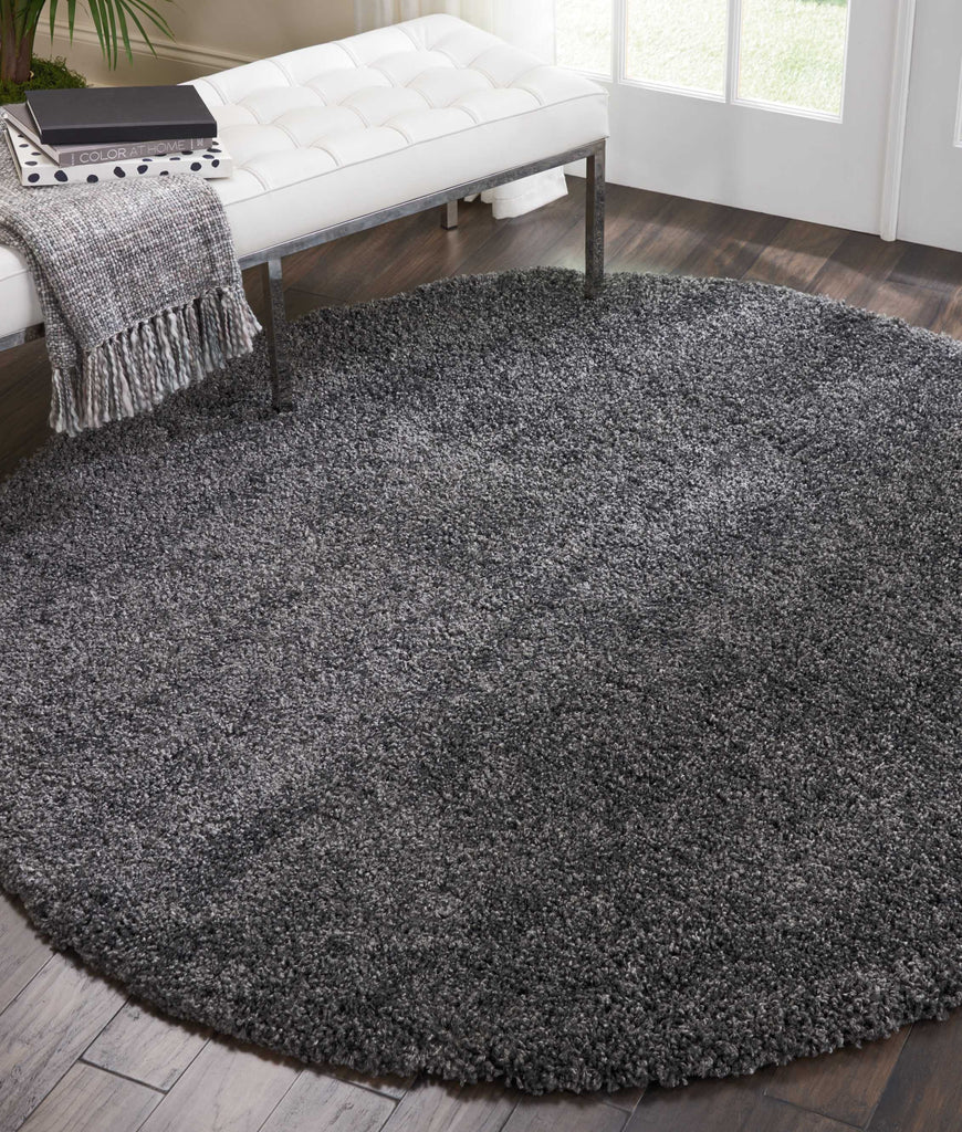 "Malibu Shag MSG01 Power Loomed 100% Polypropylene Dark Grey 7'10"" x Round Round Rug"