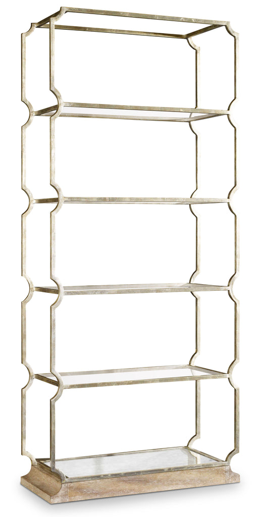 Hooker Furniture Melange Transitional Carter Metal Etagere in Cast Iron and Metal with Tempered Glass and Antique Mirror with Acacia Veneers 638-50270