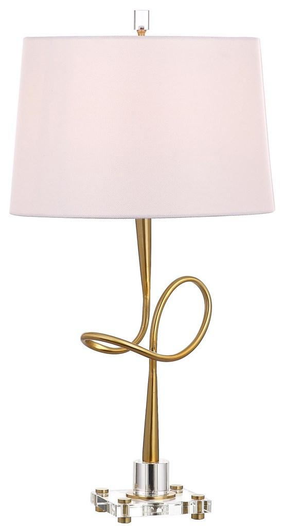 "Safavieh Hensley Table Lamp 30.25"" Gold Clear Off White Cotton Metal Crystal TBL4002A 889048257184"