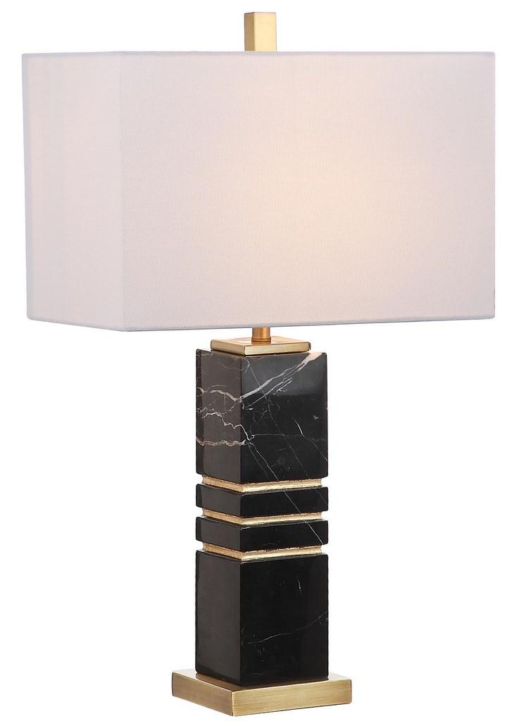 "Safavieh Jaxton Table Lamp Marble 27.5"" Black Gold Off White Cotton Metal TBL4007A 889048257344"