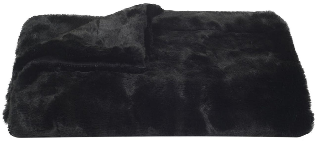 "Safavieh Throw Black Mink Faux Fur 50"" x 60"" Onyx Acrylic Plush Poly Suede THR701A-5060 889048033009"