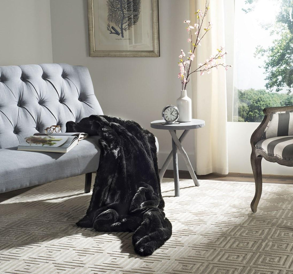 Safavieh Faux Black Mink Throw Black Acrylic Plush THR701A-6072 889048546929
