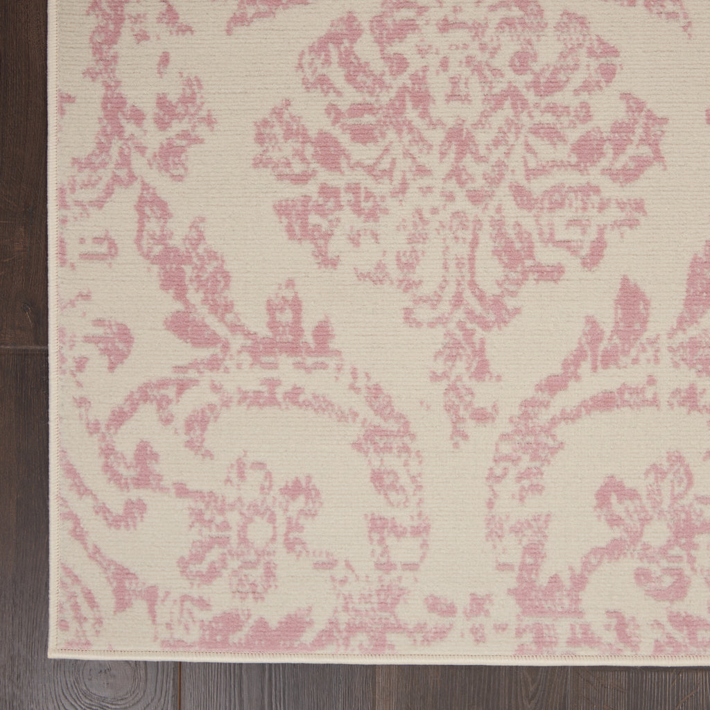 Jubilant JUB09 Power Loomed 100% Polypropylene Ivory/Pink 6' x 9' Rectangle Rug