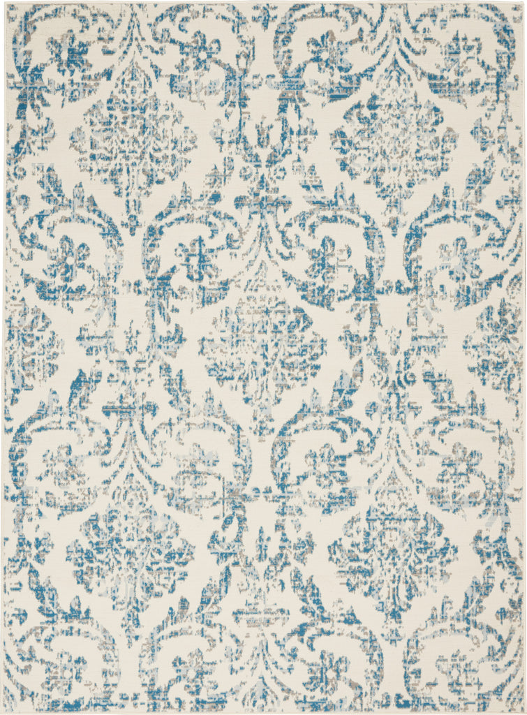 "Jubilant JUB09 Power Loomed 100% Polypropylene Ivory/Blue 5'3"" x 7'3"" Rectangle Rug"