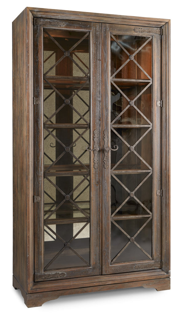 Hooker Furniture Hill Country Traditional-Formal Sattler Display Cabinet in Hardwood and Poplar Solids with White Oak Veneers, Seeded Glass, Metal and Mirror 5960-75906-MULTI