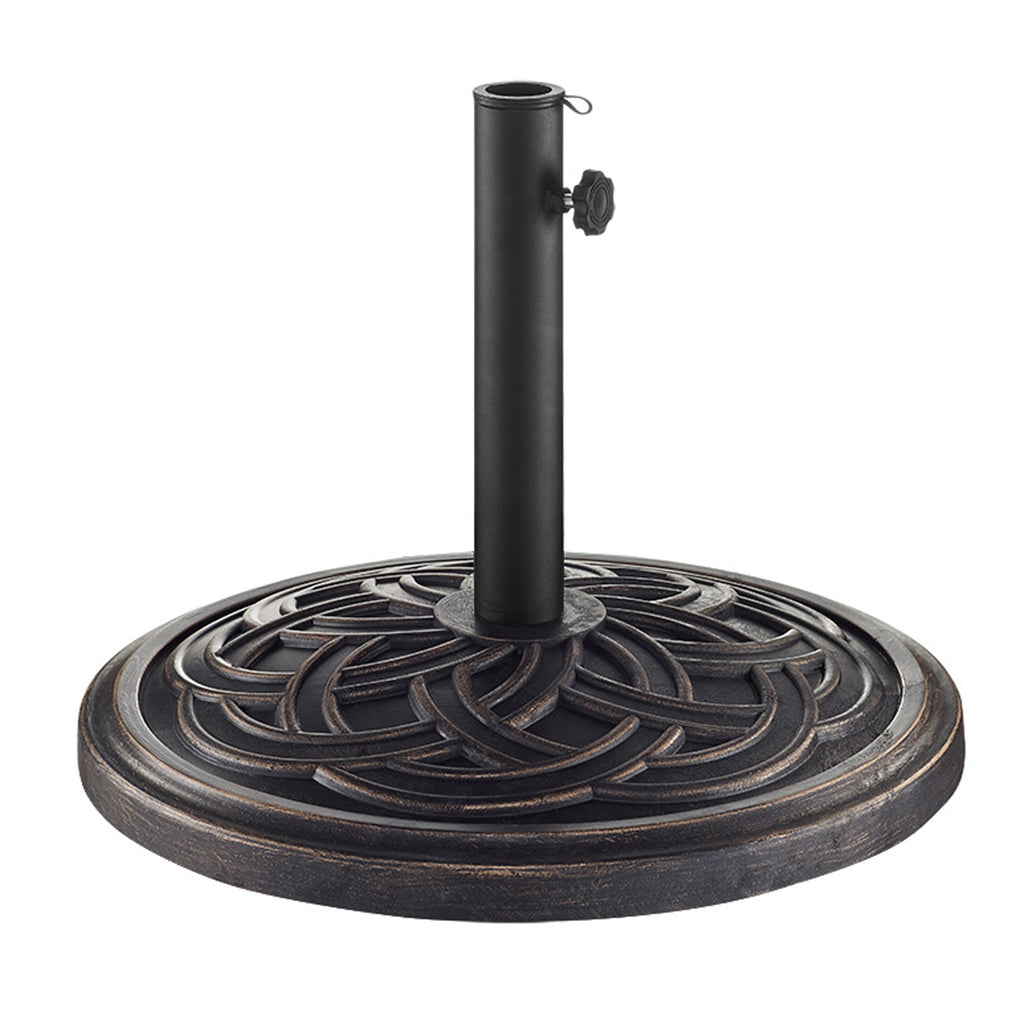 Walker Edison Circle Weave Round Outdoor Patio Umbrella Base - Antique Bronze in Polyresin, Powder-Coated Finish UB30RCWAB 814055029417