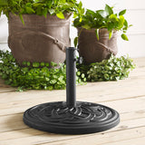 Walker Edison Circle Weave Round Outdoor Patio Umbrella Base - Black in Polyresin, Powder-Coated Finish UB30RCWBL 814055029400