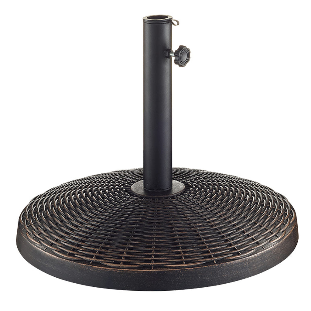 Walker Edison Wicker Style Round Outdoor Patio Umbrella Base- Antique Bronze in Polyresin, Powder-Coated Finish UB30RWRAB 814055029370
