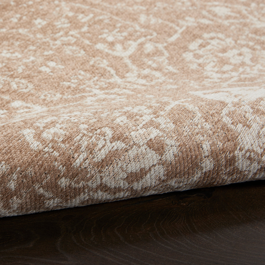 Damask DAS06 Power-loomed 83% Polyester, 14% Cotton, 3% Rayon Beige Ivory 5' x 7' Rectangle Rug