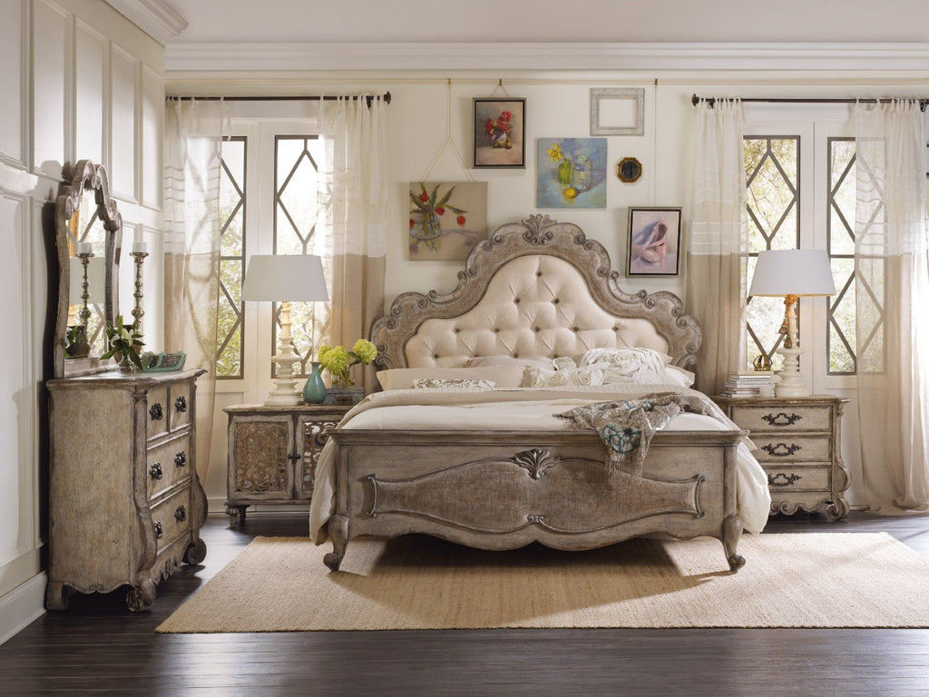 Hooker Furniture Chatelet Traditional-Formal Queen Upholstered Panel Bed in Poplar and Hardwood Solids with Pecan Veneer, Resin and Fabric 5450-90850
